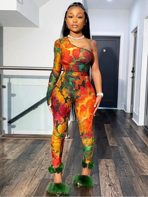 Orange Mono Sleeve Printed Jumpsuit