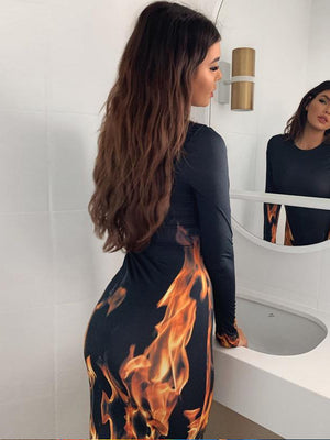 Load image into Gallery viewer, Long Sleeve Fire Power Bodycon Dress
