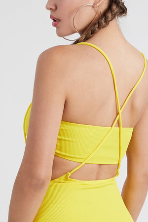 Yellow Overall Tube Top Two Piece Swimsuit