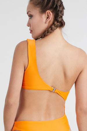 Load image into Gallery viewer, Orange One Shoulder One piece Swimsuit