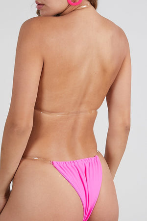 Load image into Gallery viewer, Pink Invisible Strap Two Piece Bikini Set