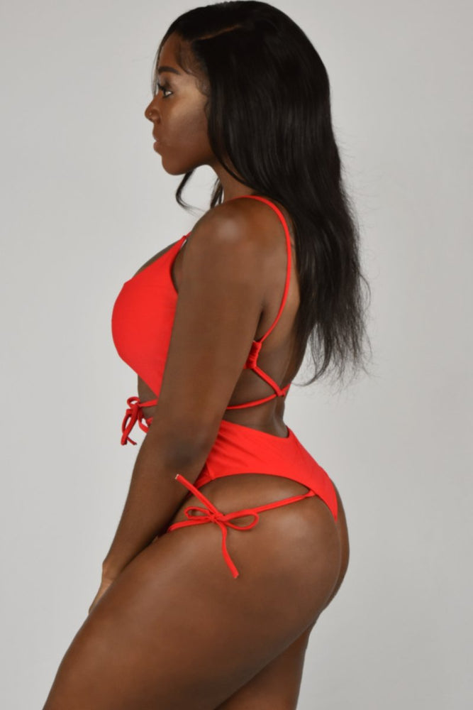 Red Lace Up Padded Stylish One-Piece Swimsuit