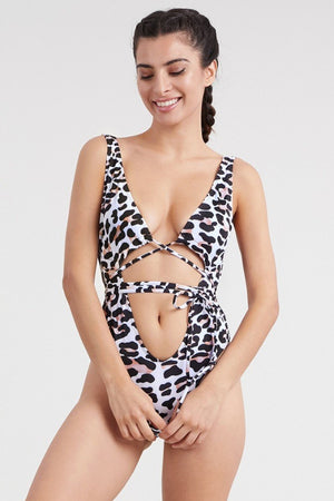 Black White Cheetah print straps one piece monokini swimsuit