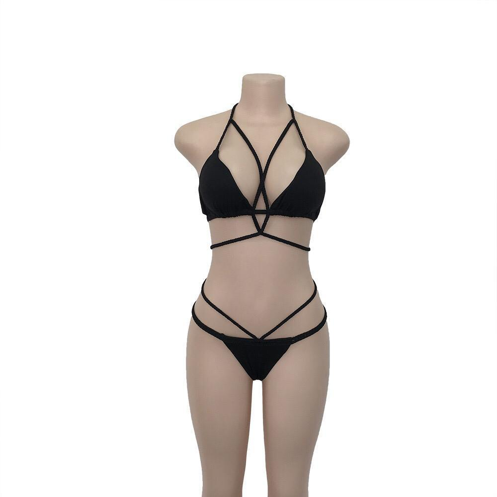 Load image into Gallery viewer, Sexy Knit Wrapped Bikini Set Black