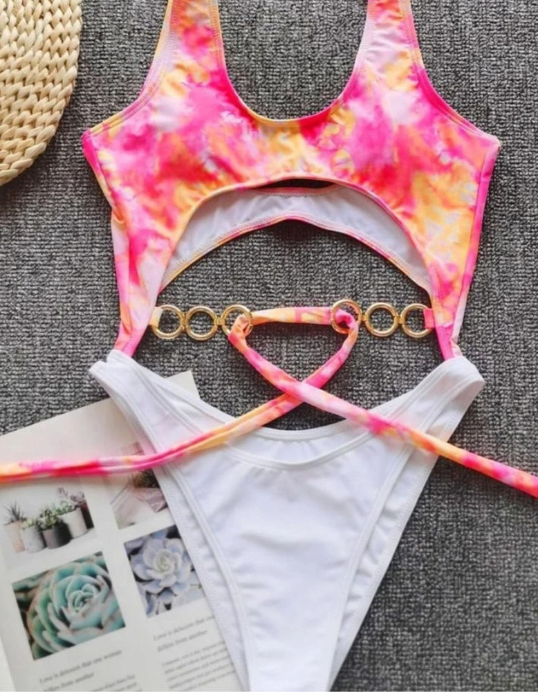 Load image into Gallery viewer, Tie Dye Chain Belt One Piece Siwmsuit
