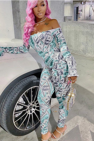 Dollar Bills Bell Sleeve Full Bodysuit