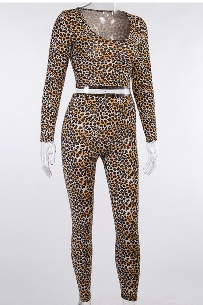 Load image into Gallery viewer, Leopard Print crop top set