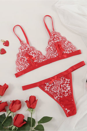 Sexy Red Lace Bralette Set
