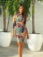 Sheer Print Bodycon Dress