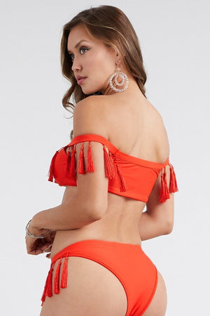 Orange Off Shoulder Fringe Top and bottom bikini set