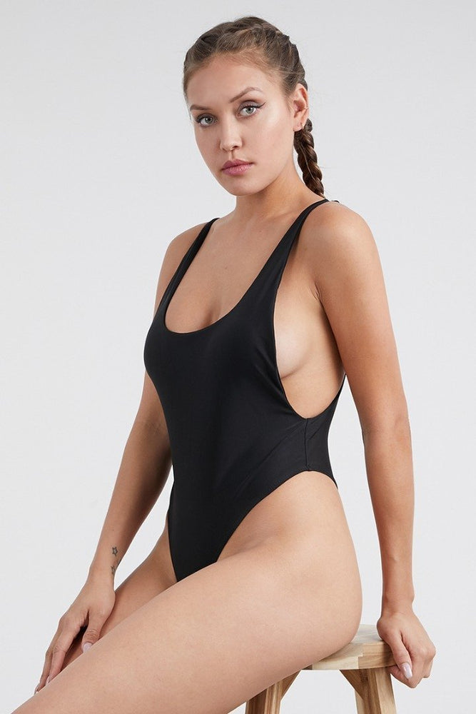 Baywatch Style Open Back One Piece Swimsuit