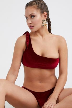 Velvet One Shoulder Swimsuit Set