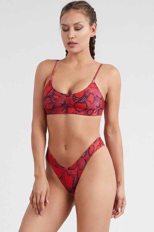 Animal Print Bikini Set Red Leopard Print