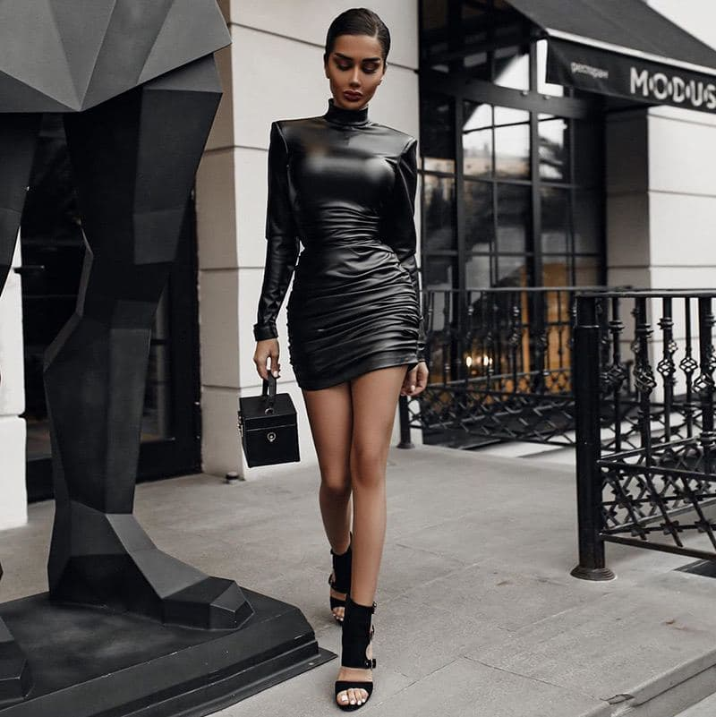 Ruched Faux Leather Dress