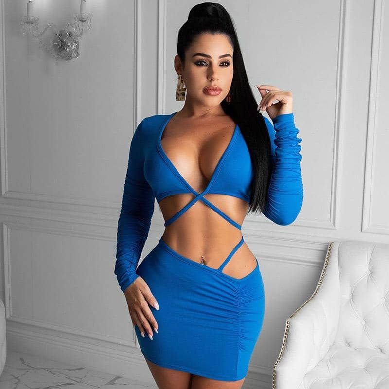Long Sleeve Cut out strap dress