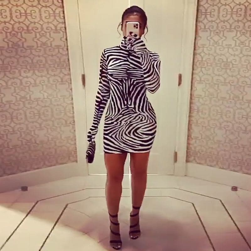 Zebra Print Dress with Matching Glove