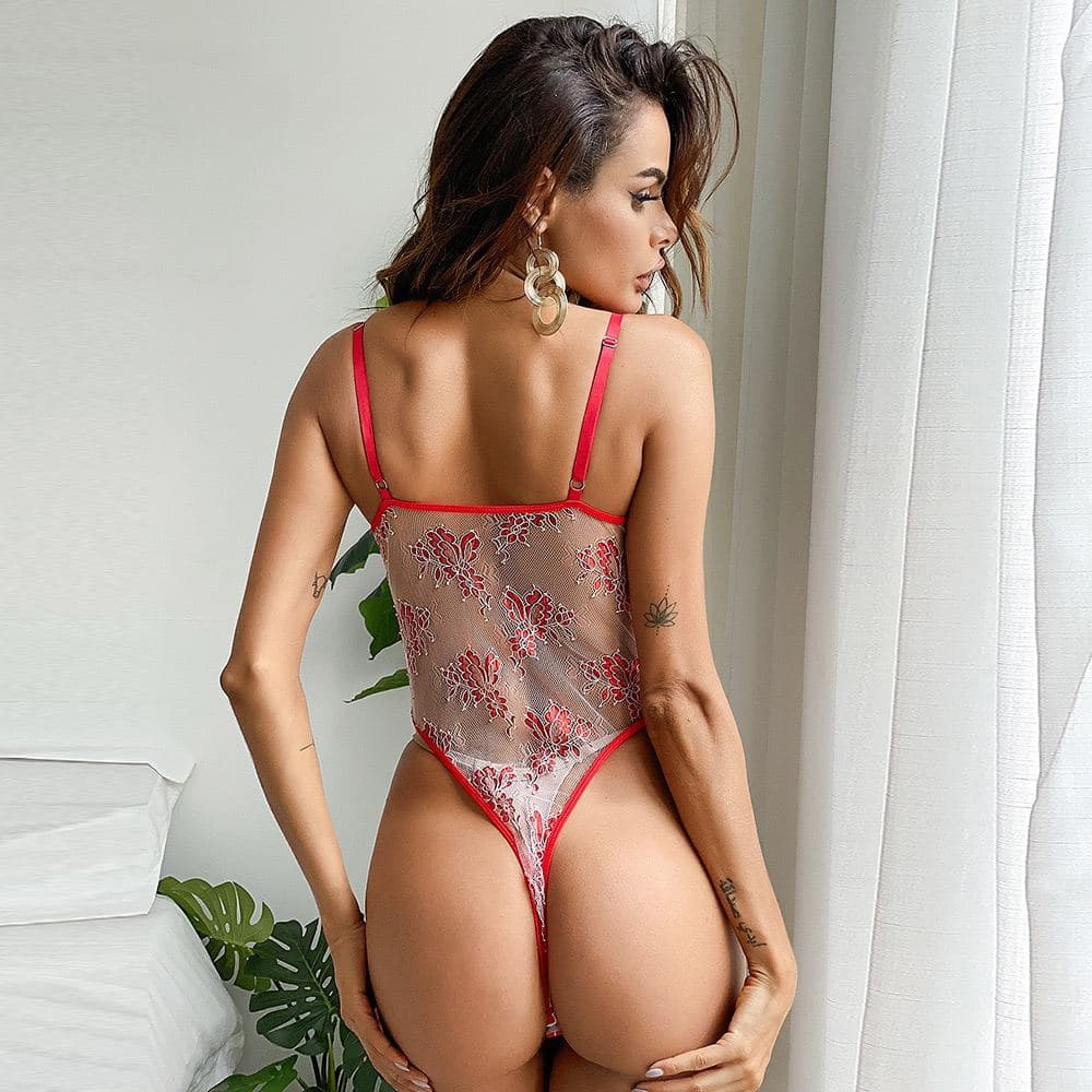 Red Ribbon Embroidered Lace Bodysuit