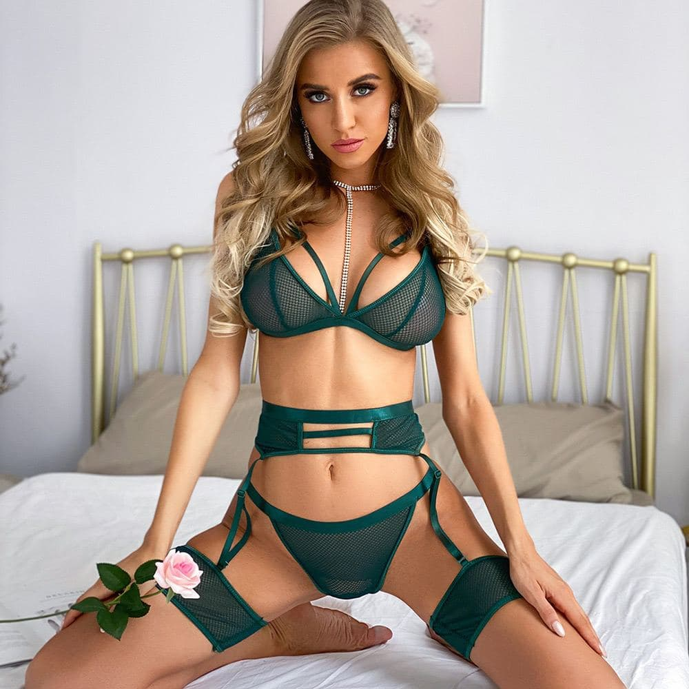 Sexy net bra set with garter