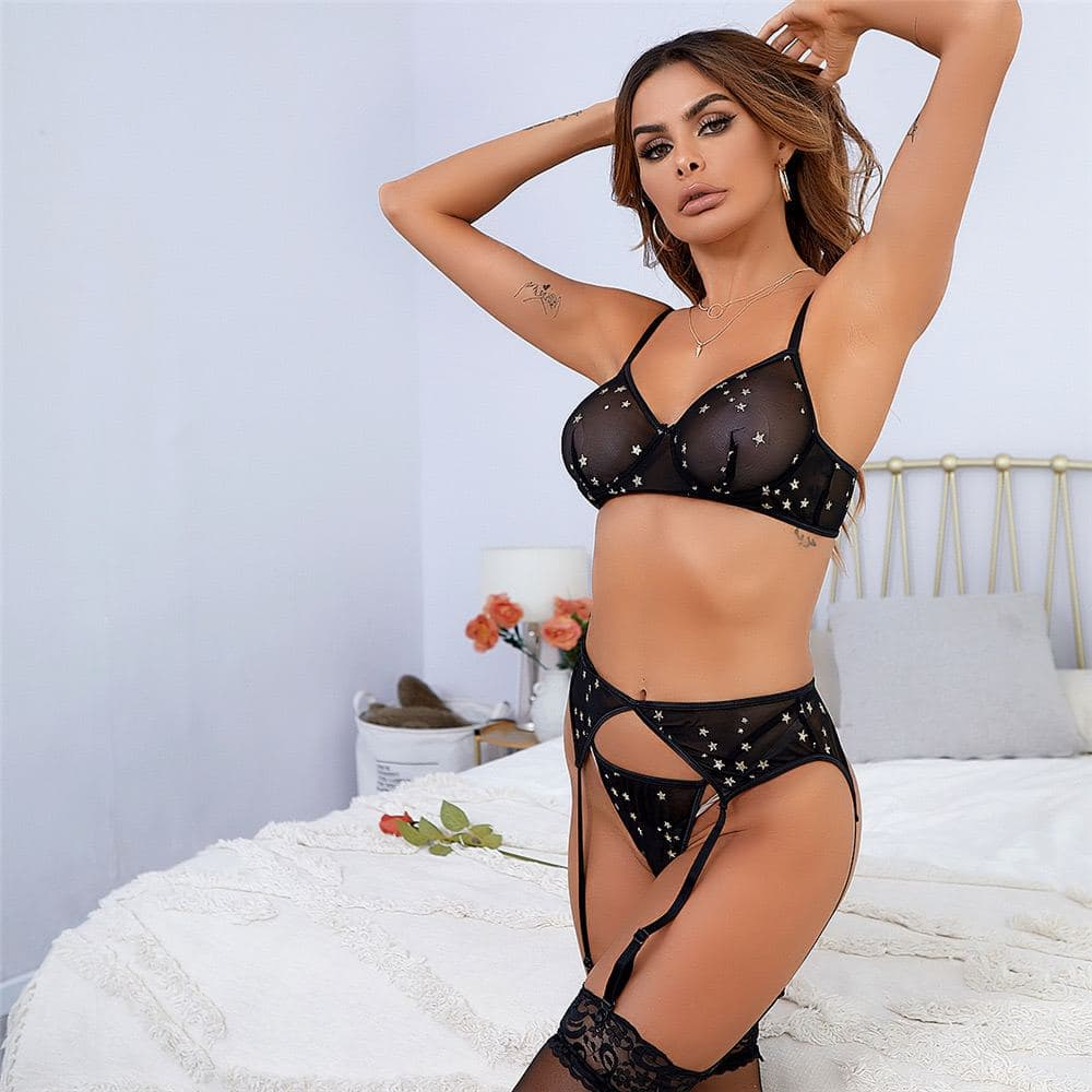 Load image into Gallery viewer, Shiny Stars Bralette Garter Set