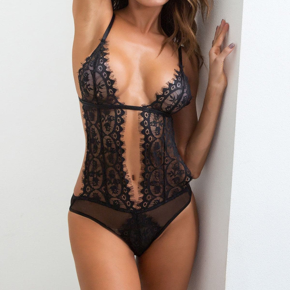 Load image into Gallery viewer, Black Lace Trim Teddy