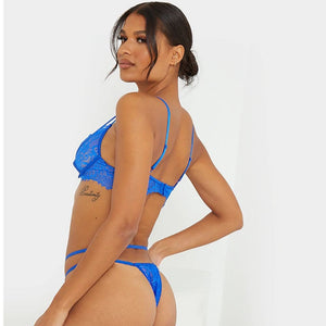 Load image into Gallery viewer, Blue trouble bralette set