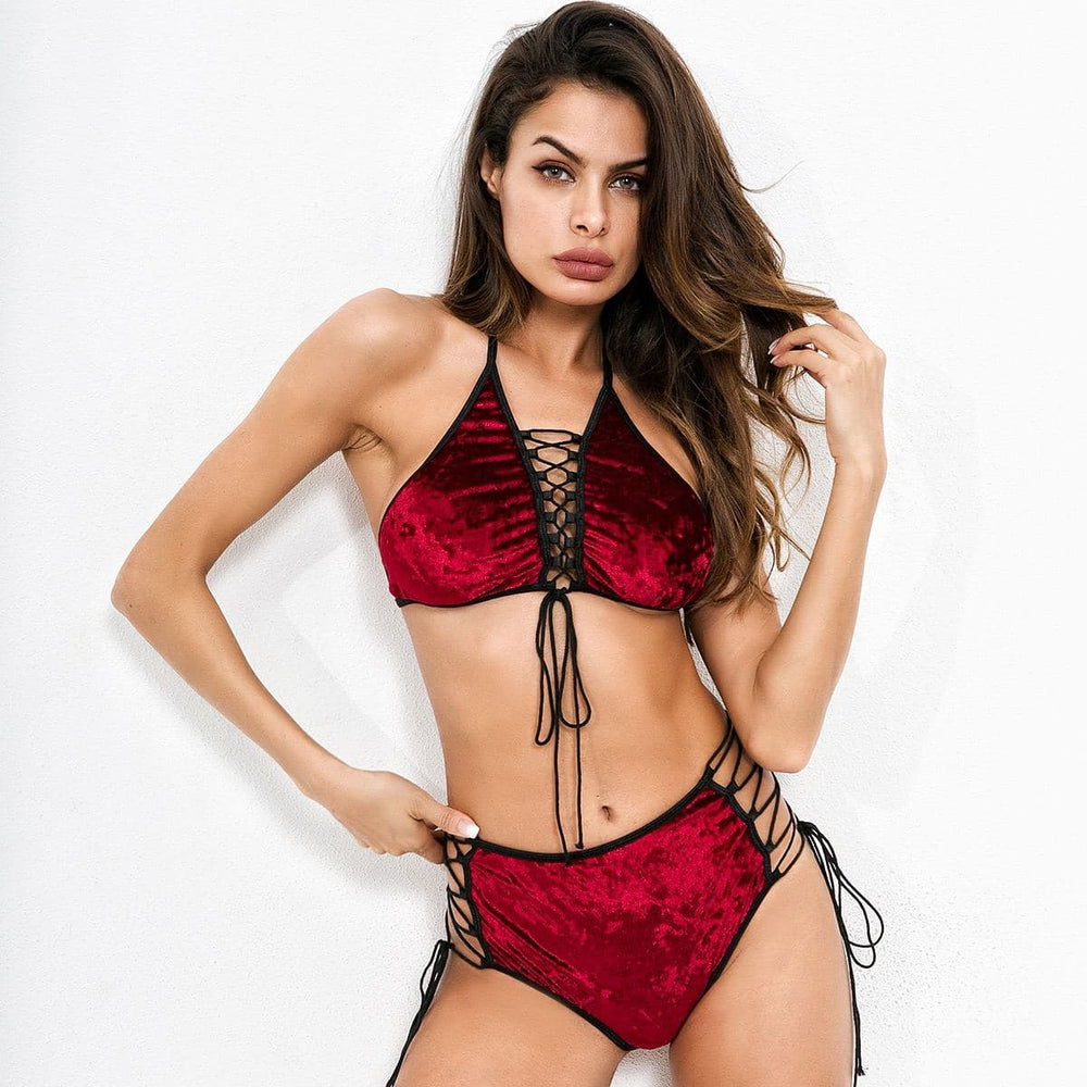 Load image into Gallery viewer, Crushed Velvet lace up bralette set