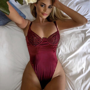 Red wine Satin Teddy
