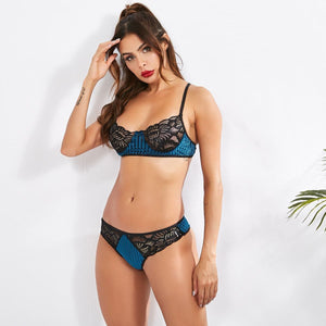 Load image into Gallery viewer, Satin Stripe Lacey Bralette Set