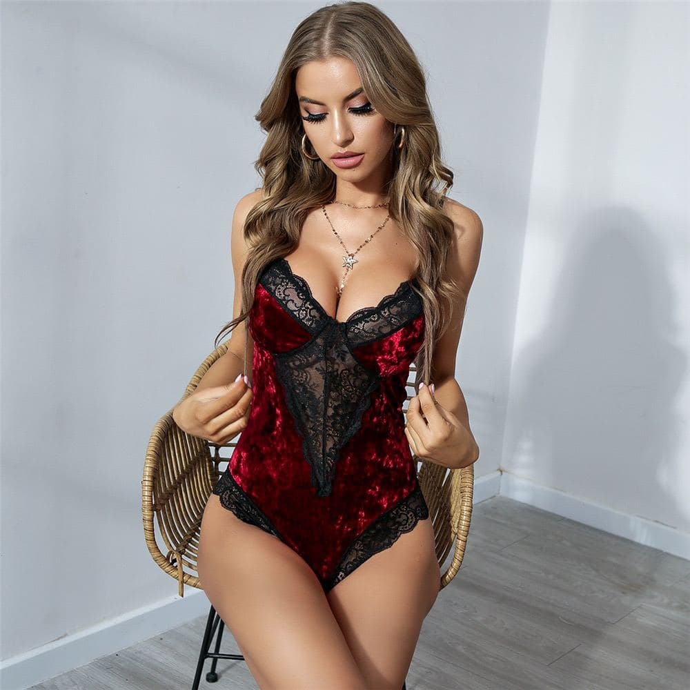 Crushed Velvet Lace Teddy