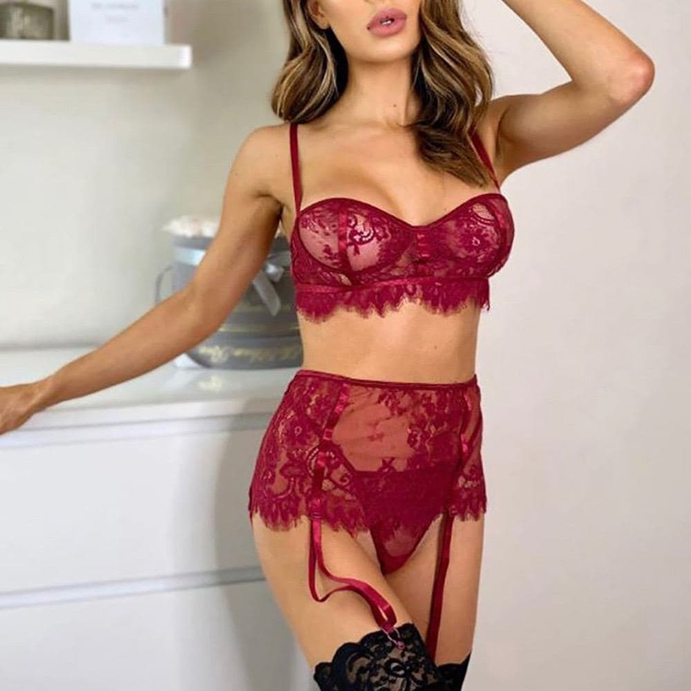 Say no more Sexy Bralette Garter Set