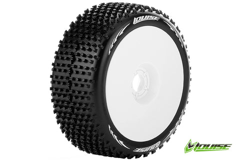 LOUISE B-HORNET 1/8 Scale Off Road Buggy Tires Super Soft Compound/White Rim/Mounted #L-T3150VW (2pcs)