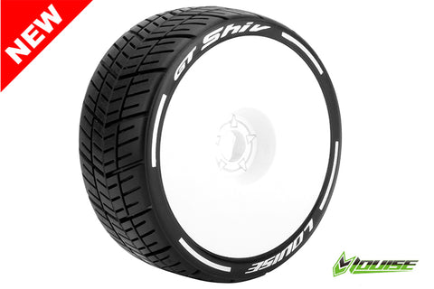 LOUISE GT-SHIV 1/8 Scale On Road GT Tires Soft Compound/White Dish Rim/ Mounted #L-T3284SW (2pcs)