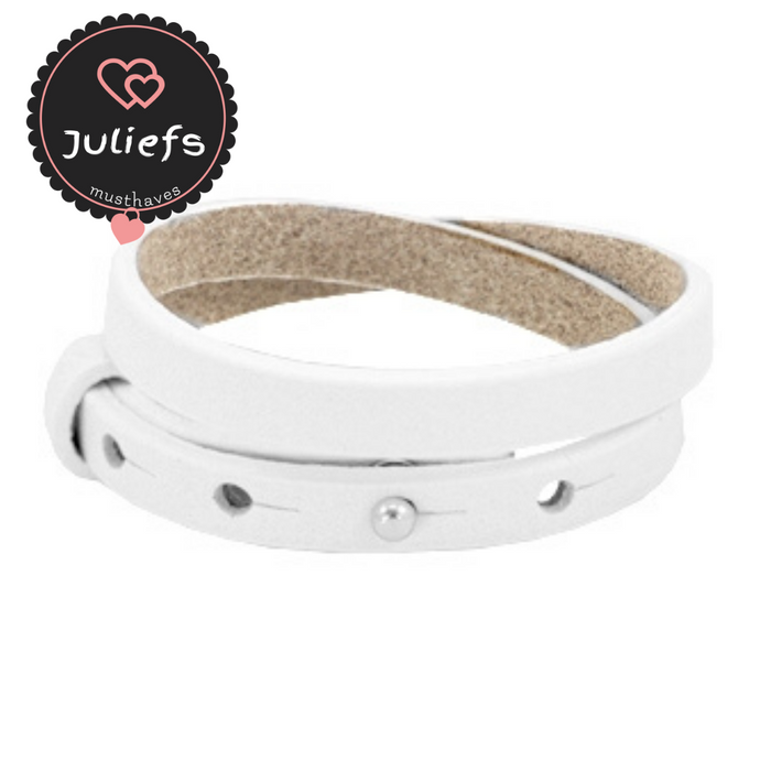 Juliefs™ | Cuoio damesarmband enkel of dubbel | Wit