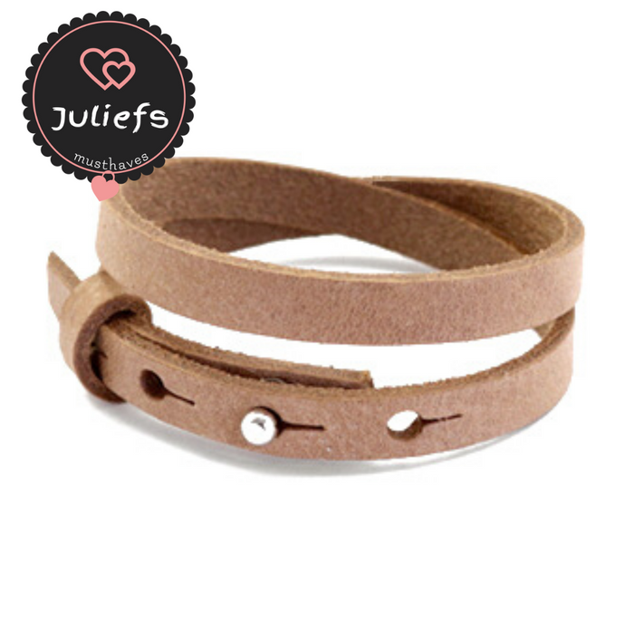 Juliefs™ | Cuoio damesarmband enkel of dubbel | Beige - Naturel