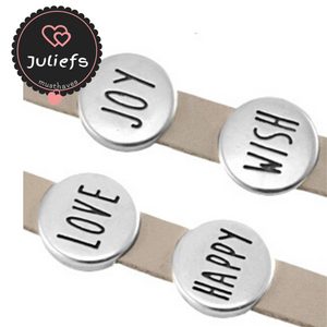 Juliefs™ | Slider - Schuiver | Zilverkleurig Love, Wish, Joy, Happy