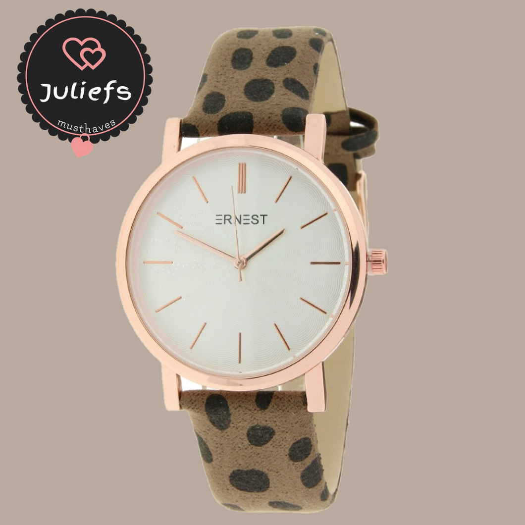 Juliefs™ | New edition dames horloge | Ernest - Mocca Cheetah
