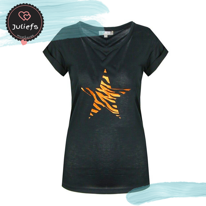 Juliefs™ Dames Top | Stars-Black | Maat XXL