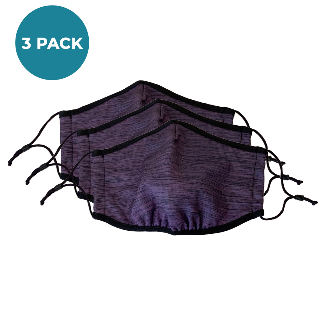 3-Layer Reusable Face Mask - Heather Purple - 3 PACK