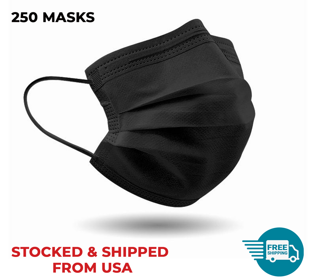Black 3-PLY Disposable Face Mask (250 MASKS) - FREE 2-DAY SHIPPING