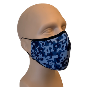3-Layer Reusable Face Mask - Blue Camo - 3 PACK