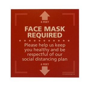 "Textured Floor Graphic - Face Mask Required - Square - 15"" x 15"" - 3 PACK"