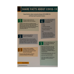 "Share Facts About Covid-19 - Window Decal - 12"" w x 18"" h - 3 PACK"
