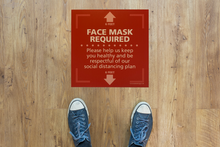 "Load image into Gallery viewer, Textured Floor Graphic - Face Mask Required - Square - 15"" x 15"" - 3 PACK"