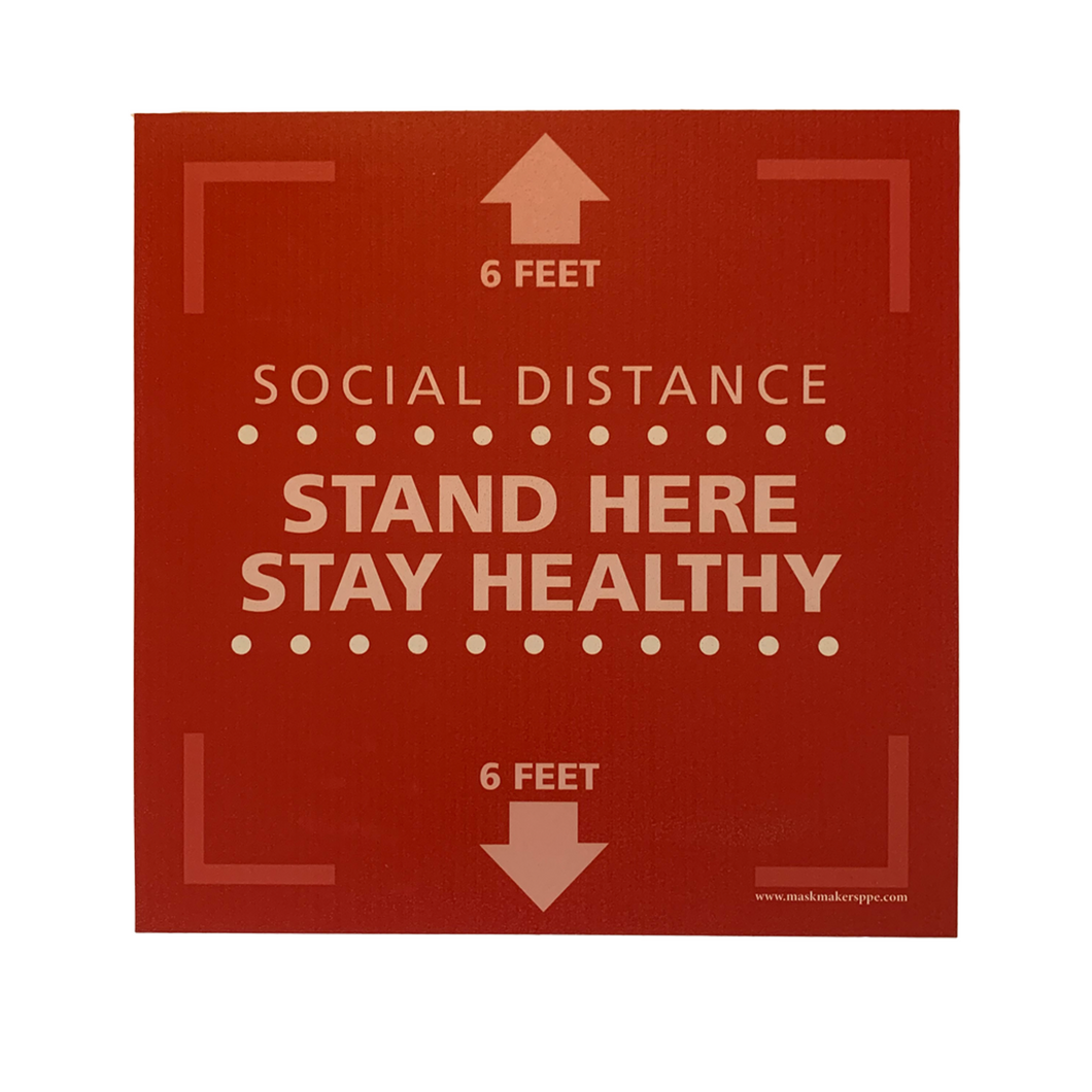 Textured Floor Graphic - Stand Here Stay Healthy - Square - 15