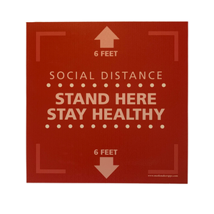 "Textured Floor Graphic - Stand Here Stay Healthy - Square - 15"" x 15"" - 3 PACK"