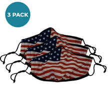 Load image into Gallery viewer, 3-Layer Reusable Face Mask - USA Flag - 3 PACK