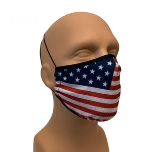 3-Layer Reusable Face Mask - USA Flag - 3 PACK