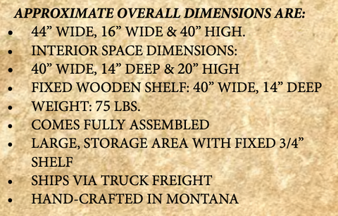 Montana Rustic Media Center dimensions