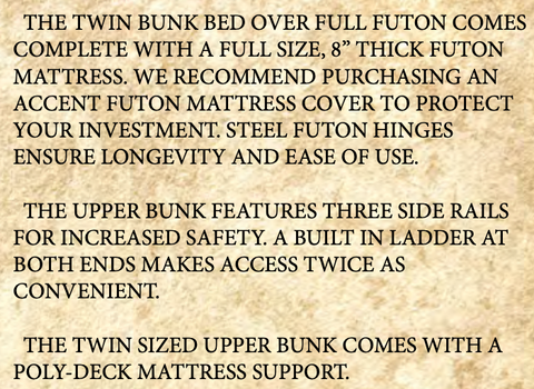 Glacier Country Rustic Bunk Bed with Futon details