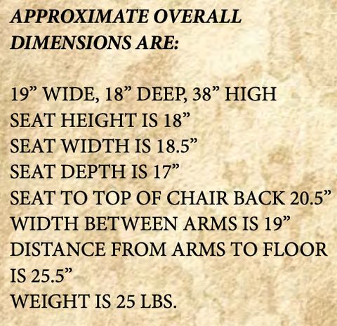 Rustic Captain Chair Dimensions